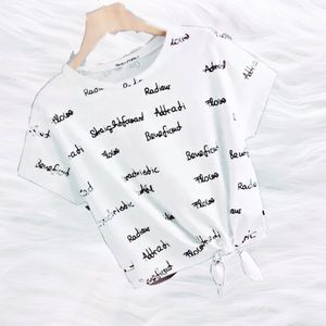Tops - Letter Print Front Knot T-Shirt